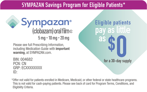 SYMPAZAN savings program helps eligible patients pay as little as $10 for a 30-day supply